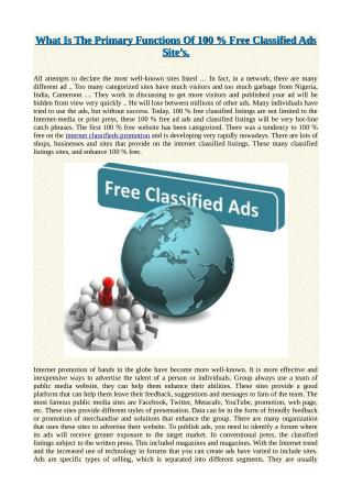What Is The Primary Functions Of 100 % Free Classified Ads Site's.