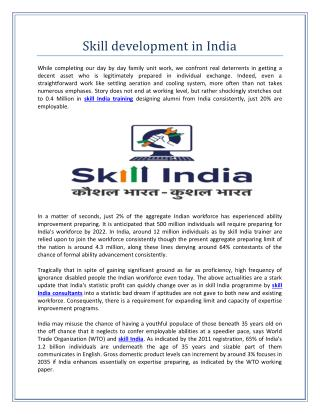Skill development in India