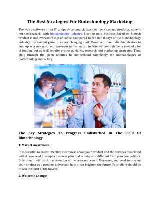 The Best Strategies For Biotechnology Marketing