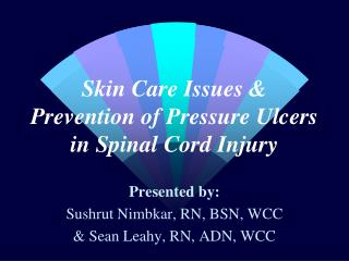 Skin Care Issues & Prevention of Pressure Ulcers in Spinal Cord Injury