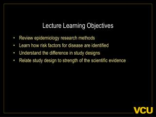 Lecture Learning Objectives