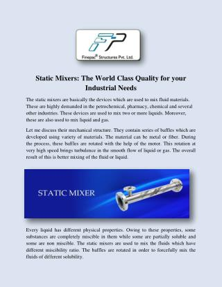 Statice Mixer Manufacturers and Suppliers India