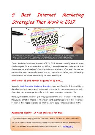 5 Best Internet Marketing Strategies That Work in 2017
