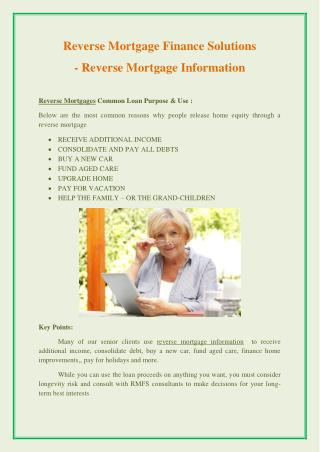 Reverse Mortgage Information - Reverse Mortgage Guide