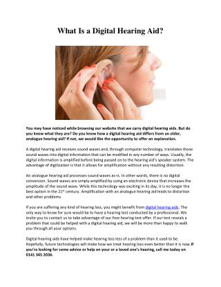 What is Digital Hearing Aids ?