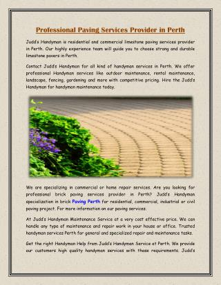 Professional Paving Services Provider in Perth