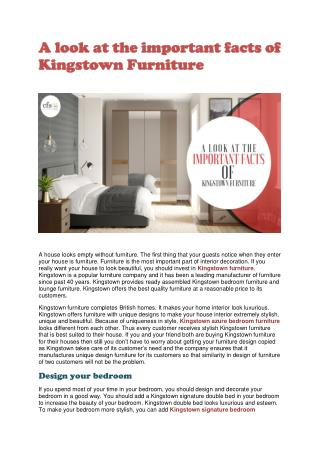 A look at the important facts of Kingstown Furniture