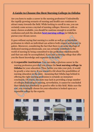 A Guide to Choose the Best Nursing College in Odisha