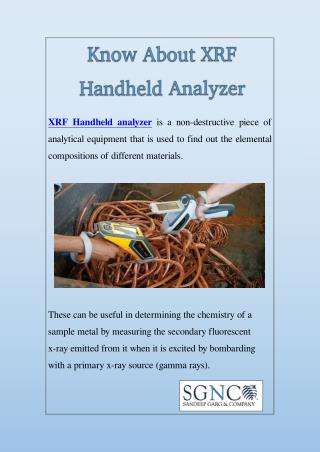 Know About XRF Handheld Analyzer