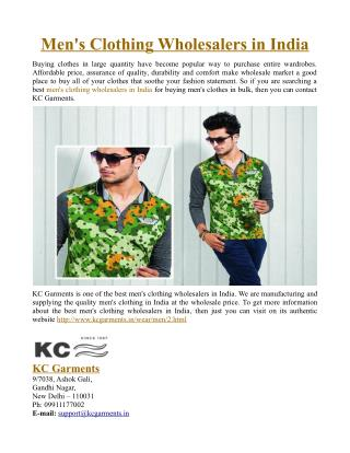 Men's Clothing Wholesalers in India
