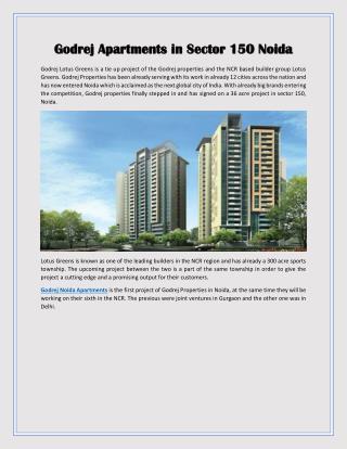 Godrej Apartments in Sector 150 Noida