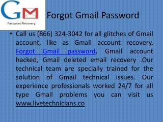 Forgot Gmail Password |  1(866)324-3042