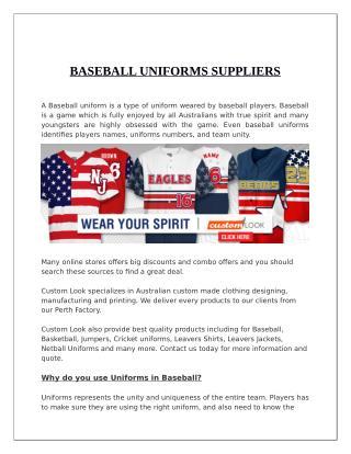 Baseball Uniforms Suppliers - Custom Look