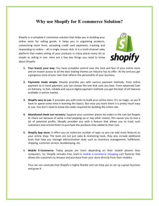 Why use Shopify for E commerce Solution?