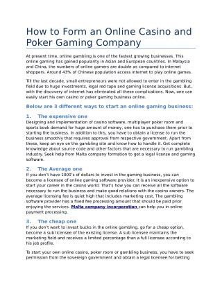 How to Form an Online Casino and Poker Gaming Company