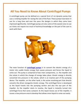 Working Principle of a Centrifugal Pump