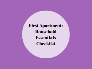 Things You Need for your First Apartment