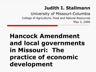 Hancock Amendment and local governments in Missouri:  The practice of economic development