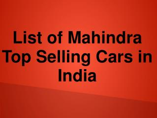 New List of Mahindra Cars Models in India