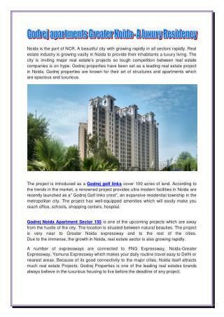 Godrej apartments Greater Noida- A luxury Residency