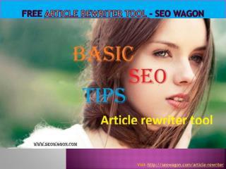 Free Article Rewriter Tool - SEO WAGON