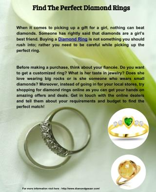 Find The Perfect Diamond Rings