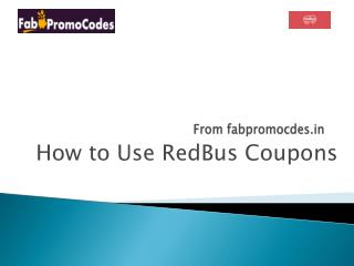 How to use RedBus Coupons