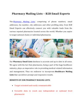 Pharmacy Mailing Lists | B2B Email Experts