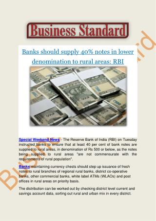 Banks should supply 40% notes of Rs 500 or less to rural areas: RBI