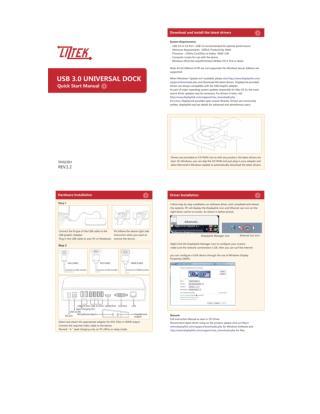 Liztek USB 3.0 Universal Docking Station, Dual Monitor, for Laptop, Ultrabook and PCs