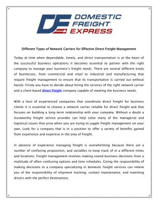 Direct Freight Management