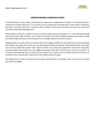 Understanding Overhead Doors