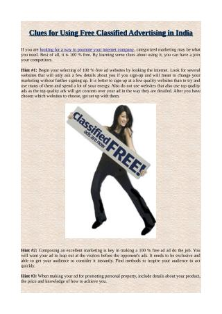 Clues for Using Free Classified Advertising in India