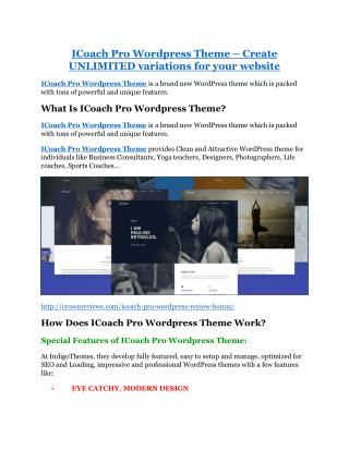 iCoach Pro Wordpress Theme Review and GIANT $12700 Bonus-80% Discount