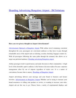 Hoarding Advertising Bangalore Airport - IM Solutions