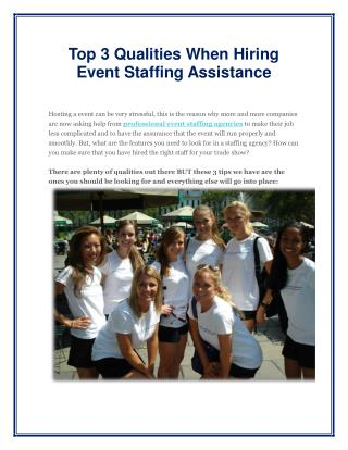 Top 3 Qualities When Hiring Event Staffing Assistance
