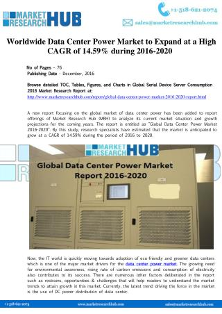 Worldwide Data Center Power Market to Expand at a High CAGR of 14.59% during 2016-2020