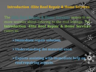 Highly Praised Roof Repair Service Provider in ELDORADO HILLS, CA