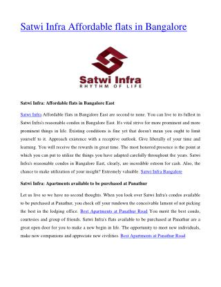 Satwi Infra Affordable flats in Bangalore