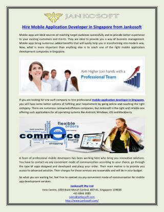 Hire Mobile Application Developer in Singapore from Jankosoft