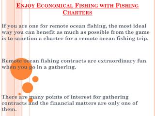 Economical Fishing with Fishing Charters