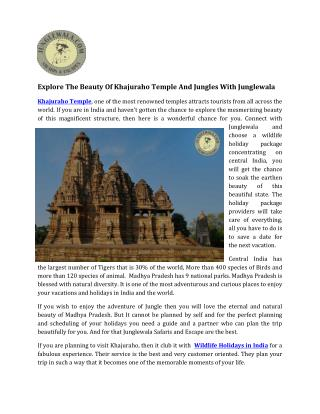 Explore the Beauty of Khajuraho Temple and jungles with Junglewala