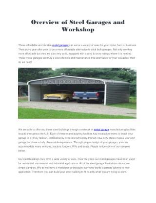 Overview of Steel Garages and Workshop