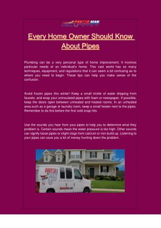 Every Home Owner Should Know About Pipes