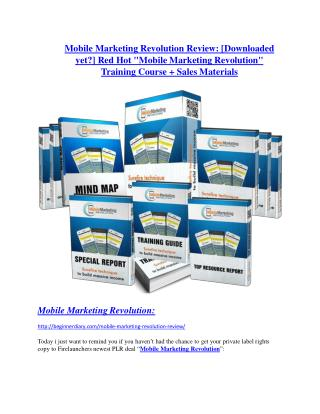 Mobile Marketing Revolution Review & Mobile Marketing Revolution $16,700 bonuses
