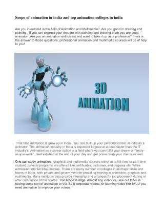 Scope of animation in india and top animation colleges in india