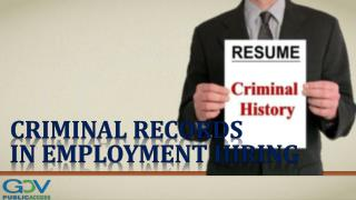 Criminal Records in Employment Hiring