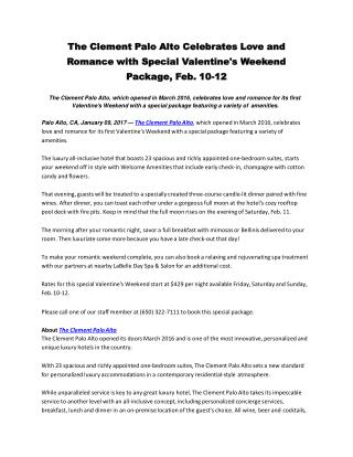 The Clement Palo Alto Celebrates Love and Romance with Special Valentine's Weekend Package, Feb. 10-12