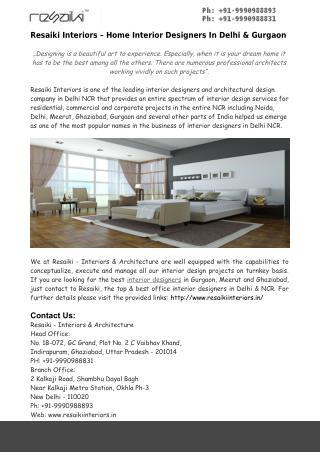 Home Interior Designers In Delhi & Gurgaon