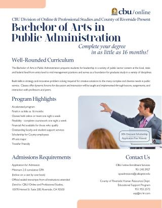 Grab your Bachelor of Public Administration Degree in just 16 Months